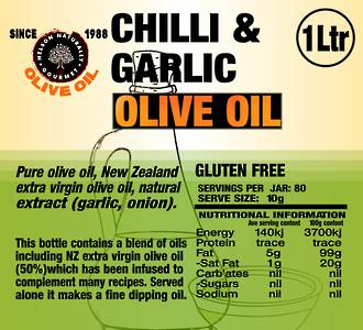 Chilli & Garlic Infused Olive Oil (1 litre)